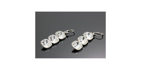 Dámské náušnice se třemi krystaly Swarovski