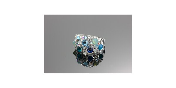 Dámský prstýnek s modrými krystaly Swarovski
