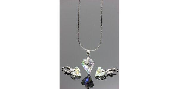 Dámská sada šperků - srdcové náušnice a náhrdelník Swarovski