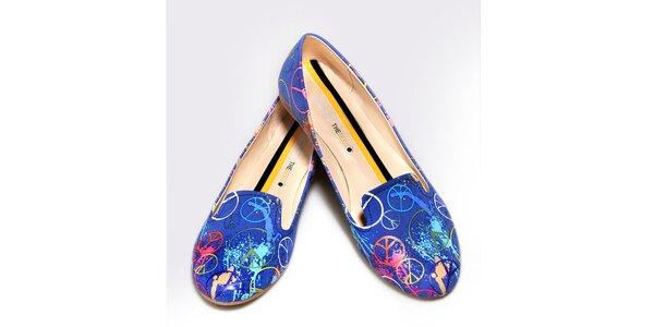 Dámské modré loafers s mírovými znaky The Bees