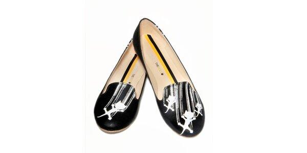 Dámské černé loafers s bílými kočičkami The Bees