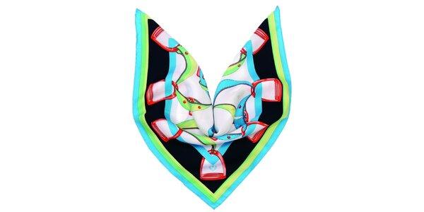 Dámský tyrkysovo-zelený hedvábný šátek Fraas