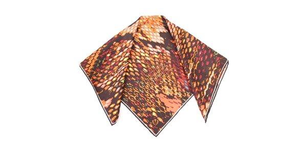 Dámský hnědě vzorovaný hedvábný šátek Fraas