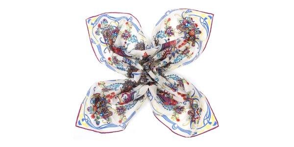 Dámský hedvábný vzorovaný šátek Fraas