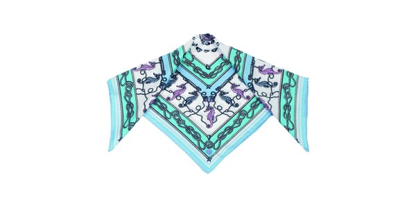 Dámský tyrkysovo-zelený šátek s mořskými koníky Fraas