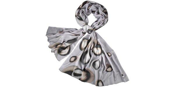 Dámský šedý šátek s potiskem Fraas