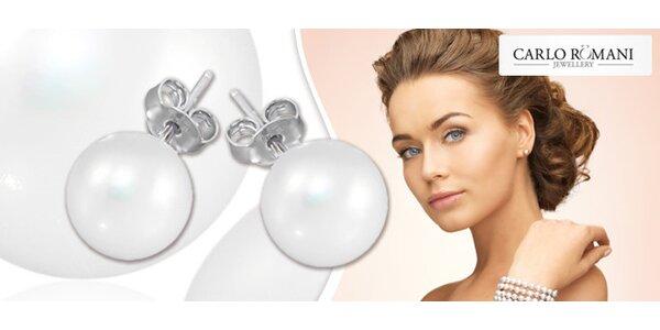 Elegantní stříbrné náušnice s pravými perlami