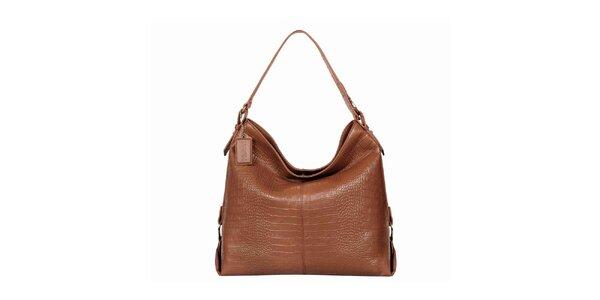 Dámská lesklá světle hnědá kabelka POON Bags
