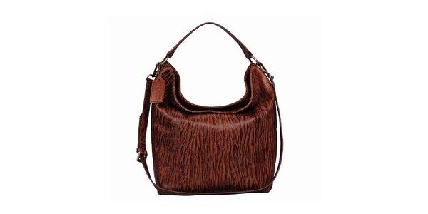 Dámská hnědá kožená kabelka s potiskem POON Bags