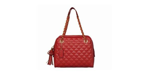 Dámská červená prošívaná kabelka s třásněmi POON Bags