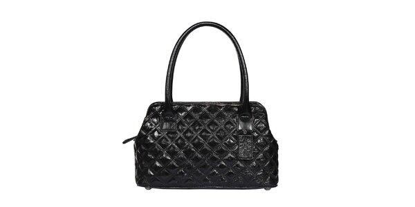 Dámská černá prošívaná lesklá kabelka POON Bags