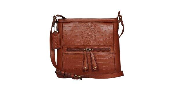 Dámská koňakově hnědá kabelka s popruhem POON Bags