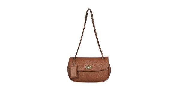 Dámská koňakově hnědá vzorovaná kabelka POON Bags
