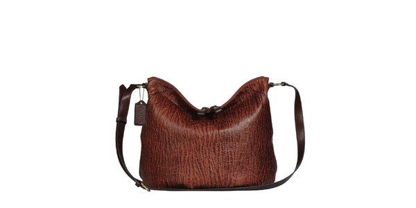 Dámská hnědá žíhaná kabelka s popruhem POON Bags