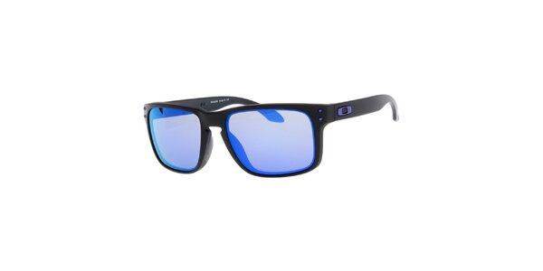 Hranaté černé sluneční brýle s fialovými skly Oakley