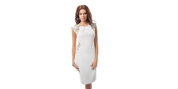 Dámské bílé šaty s hnědou krajkou Enny