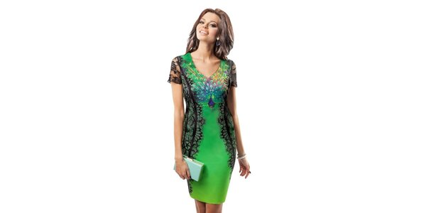 Dámské šaty s obrázkem páva Enny