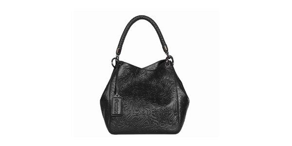 Dámská černá vzorovaná kabelka POON Bags