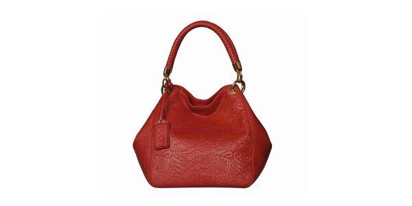 Dámská červená vzorovaná kabelka POON Bags