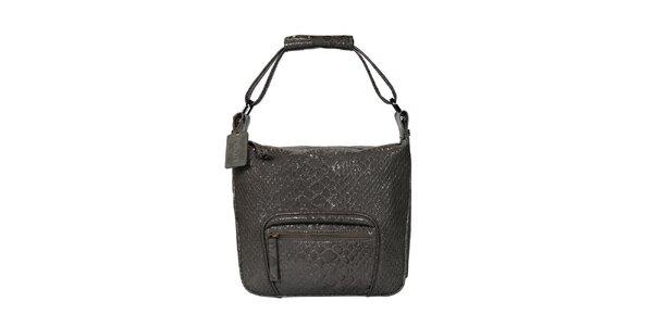 Dámská šedá kabelka s motivem hadí kůže POON Bags