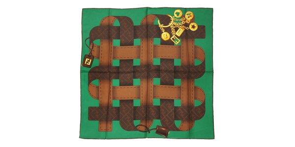 Zelený čtvercový šátek Fendi s motivem opasků