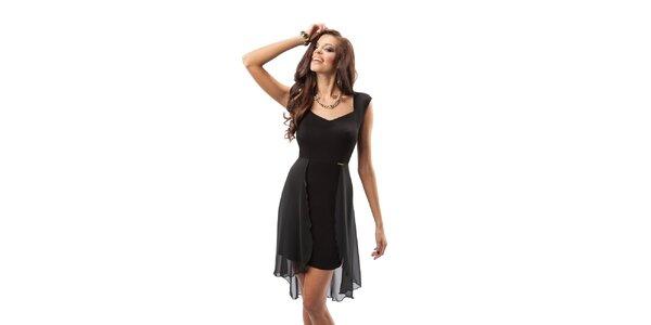Dámské černé šaty s transparentní vrstvou Enny