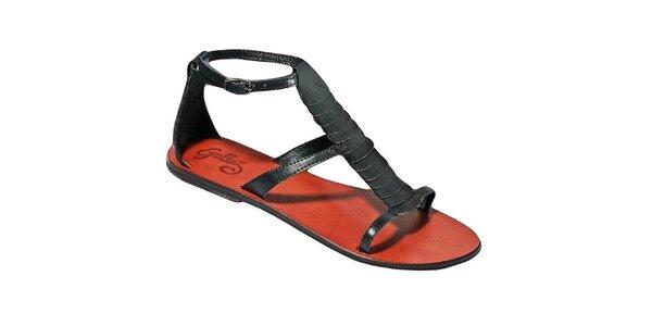 Dámské černé sandálky s barevnou stélkou Gallaz