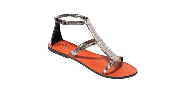 Dámské metalické sandálky s barevnou stélkou Gallaz