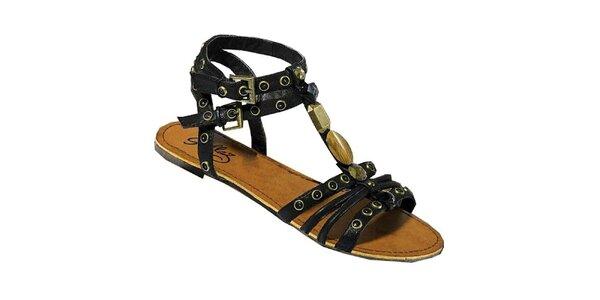 Dámské černé páskové sandály Gallaz