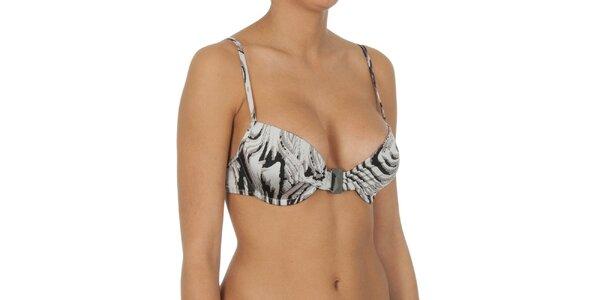 Dámská šedě žíhaná plavková podprsenka s kosticemi Calvin Klein