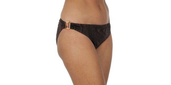 Dámské hnědě žíhané plavkové kalhotky Calvin Klein