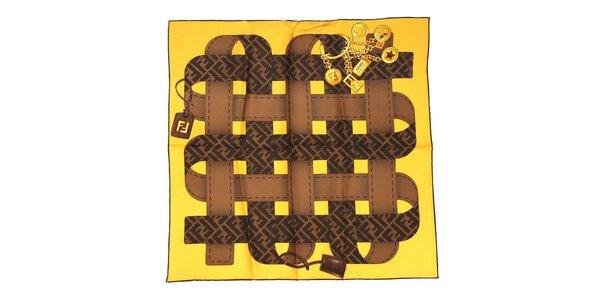 Žlutý čtvercový šátek Fendi s motivem opasků