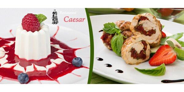 Tříchodová večeře pro 2 osoby v restaurantu Caesar