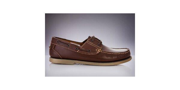 Pánské tmavě hnědé boty z kůže DEK