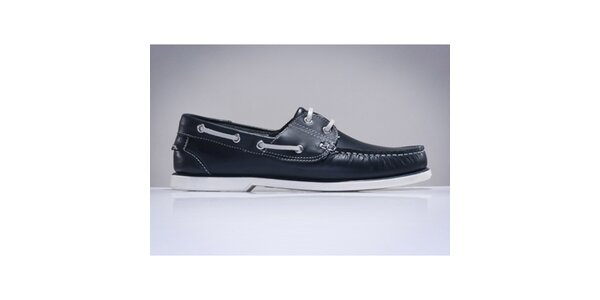 Pánské tmavě modré boty z kůže DEK