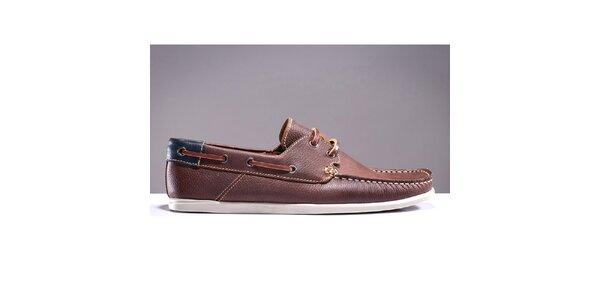 Pánské hnědé boty s prošívanou špičkou DEK