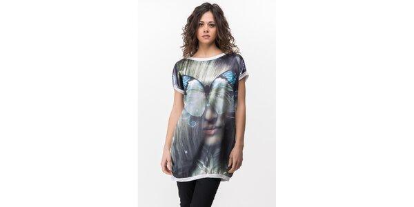 Dámské bílé tričko s výrazným potiskem Sixie
