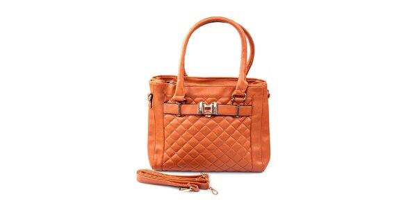 Dámská oranžovohnědá prošívaná kabelka London Fashion