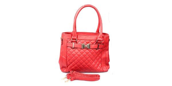 Dámská červená prošívaná kabelka London Fashion