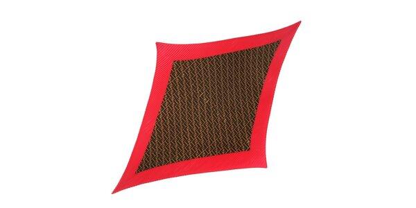 Plisovaný hedvábný šátek Fendi s fuchsiovým lemováním