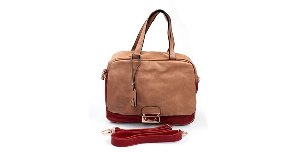Dámská béžovo-červená kabelka London Fashion