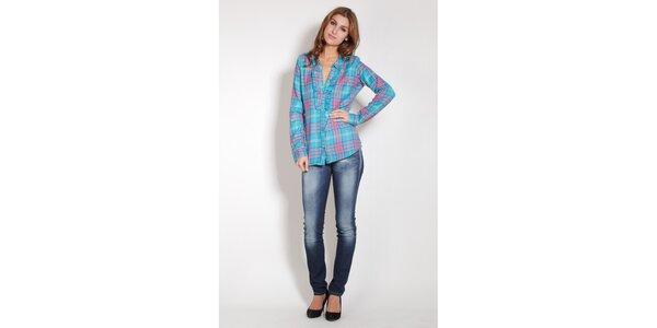 Dámská tyrkysová košile Lois s barevnou kostkou