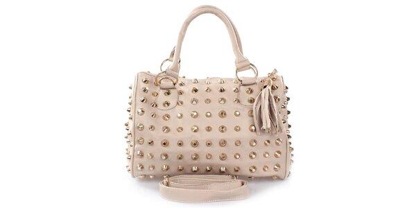 Dámská světle béžová kabelka s hroty London Fashion