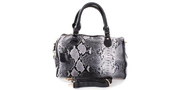 Dámská šedo-černá kabelka s hadím motivem London Fashion