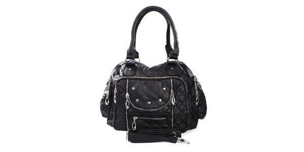 Dámská černá kabelka s prošíváním London Fashion