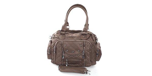 Dámská hnědá kabelka s prošíváním London Fashion
