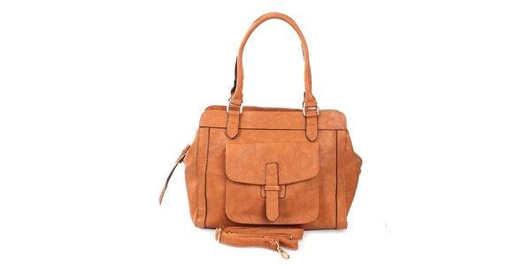 Dámská hnědá kabelka se dvěma uchy London Fashion
