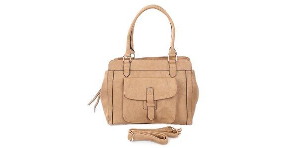 Dámská béžová kabelka se dvěma uchy London Fashion