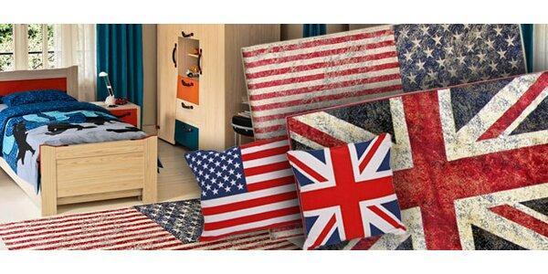 Koberec či polštářky s designem vlajky