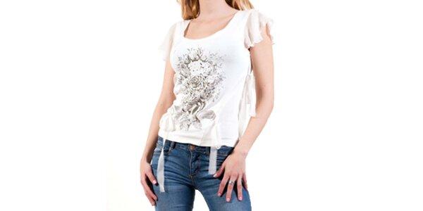 Dámské bílé tričko s průhlednými rukávky Barbarella